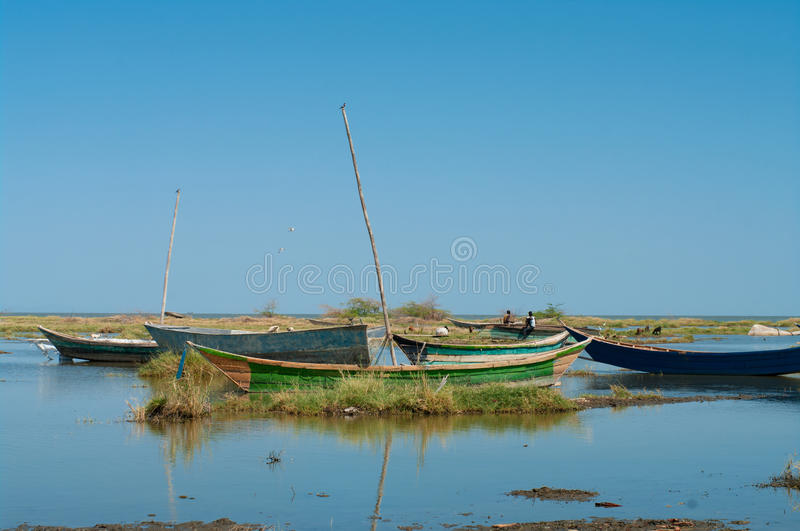 African traditional fishing boats royalty free stock photo