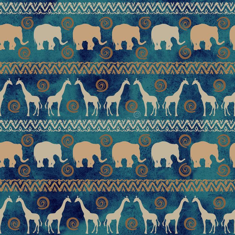 African tribal ethnic  seamless  background with wild animals stock illustration