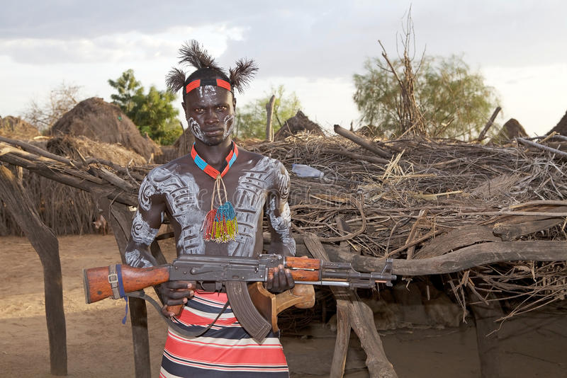 Download African tribal man editorial photo. Image of assault - 30377641