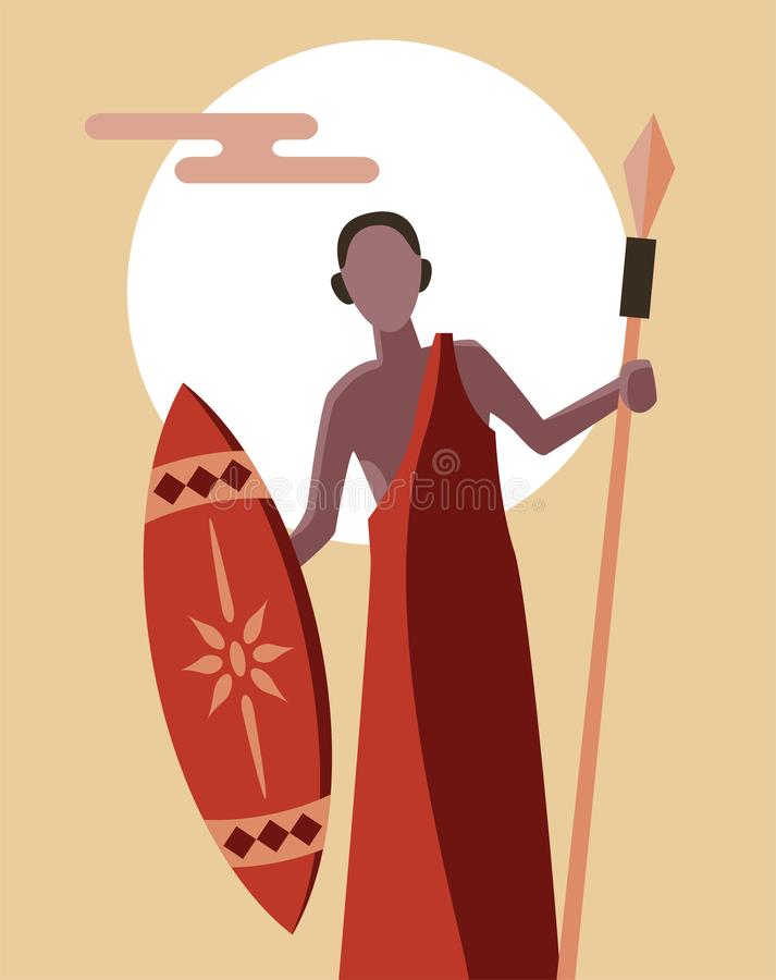 African tribal masai warrior standing confidently with spear vector illustration