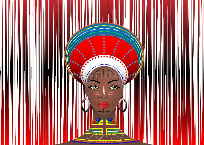 African Tribe Clothes Female Zulu Aboriginal portrait of cute south African woman of Bantu nation. Typical Afro Headdress. With ethnic earrings and necklace royalty free illustration