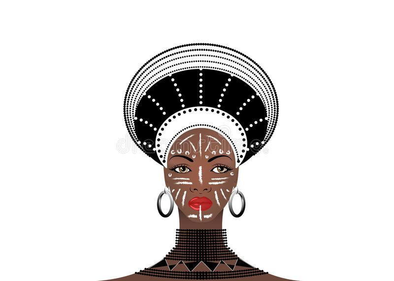 African Tribe Clothes Female Zulu, portrait of cute south african woman. Typical clothing for married women, young girl of Bantu vector illustration