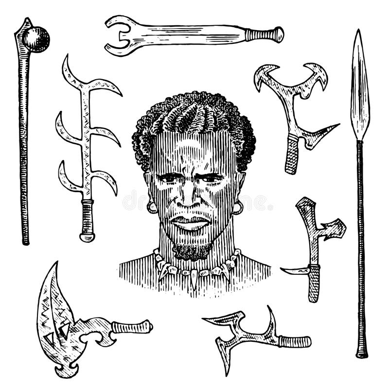 African tribe with spears and weapons, portrait of Aborigine in traditional costume. Australian Warlike black native man. Engraved hand drawn old monochrome royalty free illustration