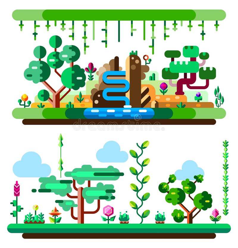 African tropical jungle and landscape made with bright colors. Flat vector illustration set. Elements for your mobile royalty free illustration