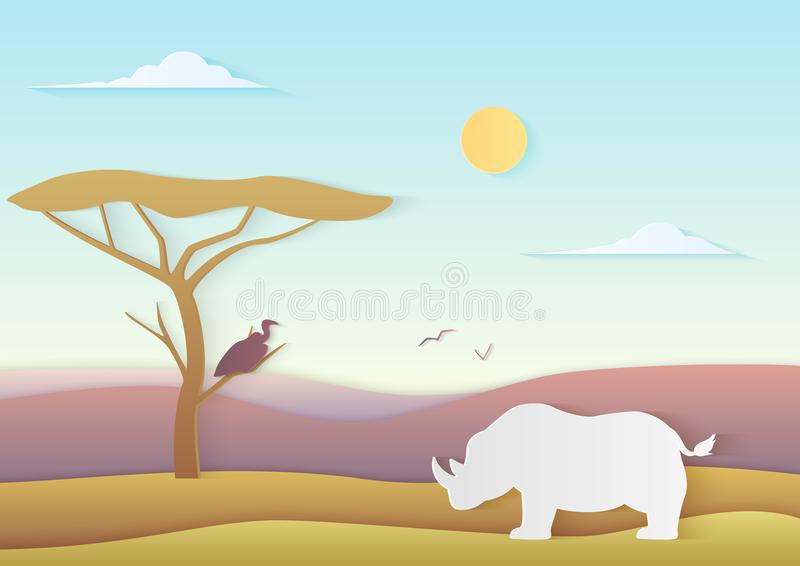 African vector landscape with rhino and tree standing with bird in savannah with mountains. Trendy paper cuted vector vector illustration