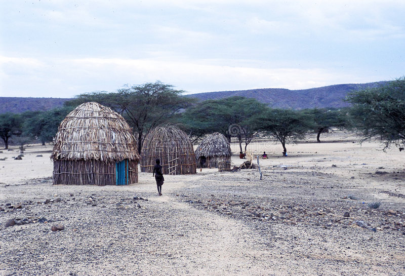 African village. Traditional huts - Turkana people - Kenya Africa stock photos