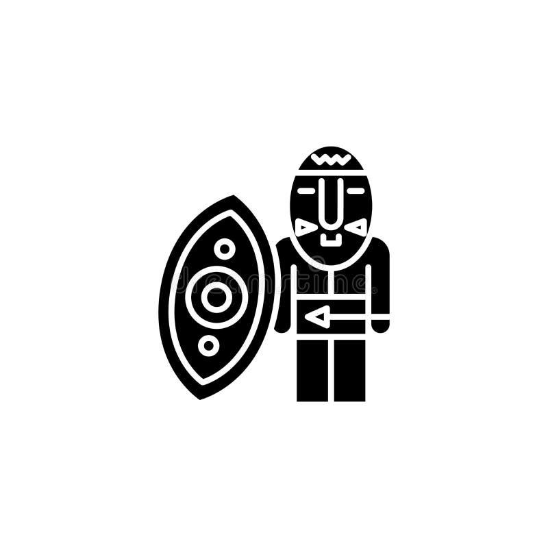 African Warrior Spear Lion Tattoo Stock Illustration