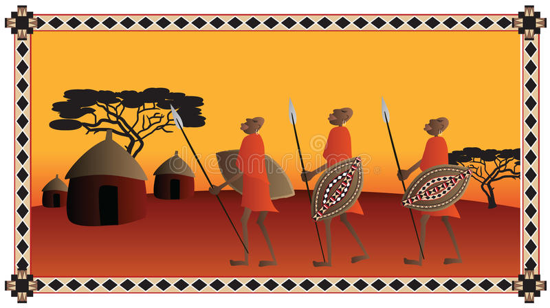 African Warriors stock illustration