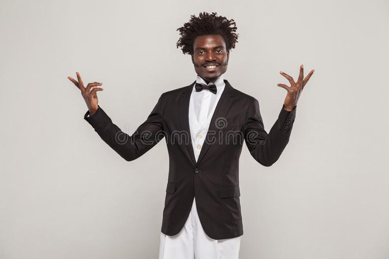 African well dressed singer or actor toothy smiling royalty free stock image