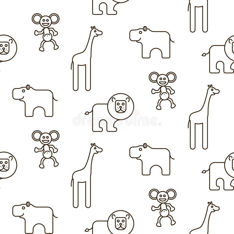African wild animals kid seamless pattern vector. stock illustration