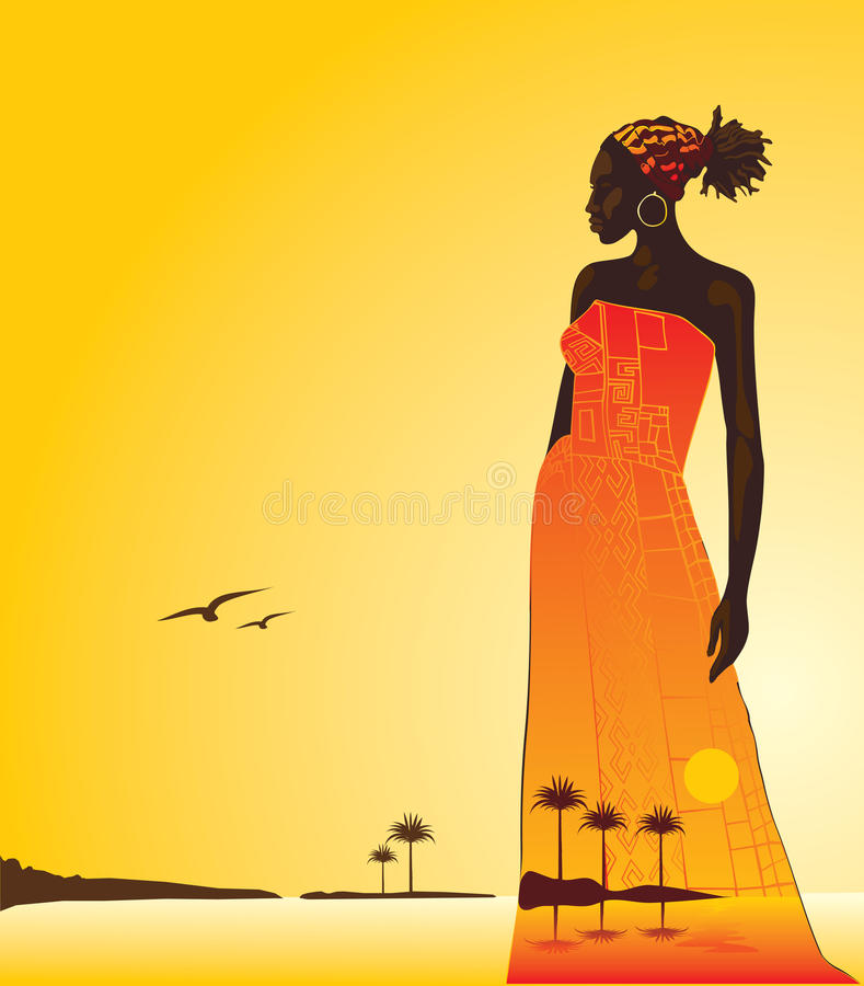 African woman. Sunset in Africa, the woman and the sea. Vector illustration