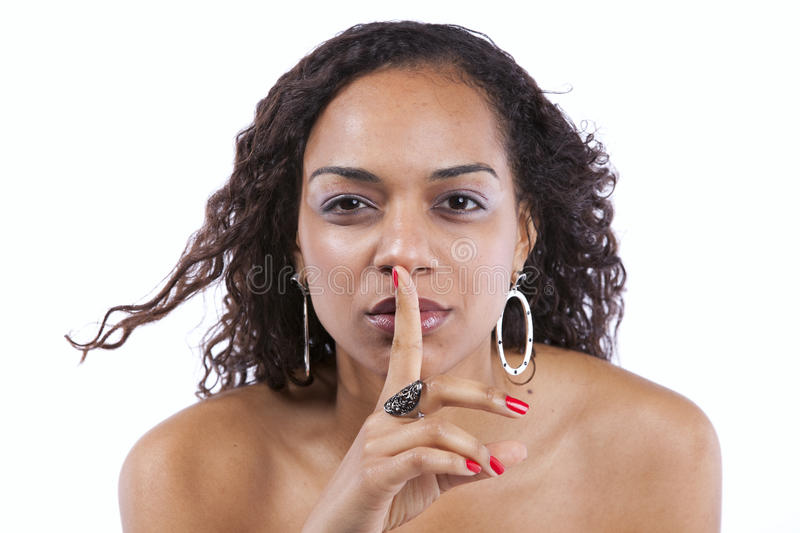 African woman asking for silence royalty free stock image