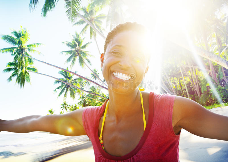 African Woman Beach Happiness Freedom Concept stock photo