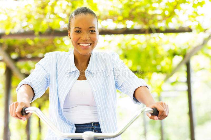 African woman bike royalty free stock photography
