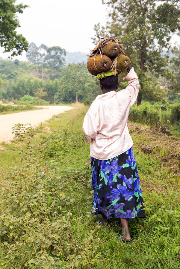 Free African Woman Carrying Jackfruits On Head Stock Photography - 26560082