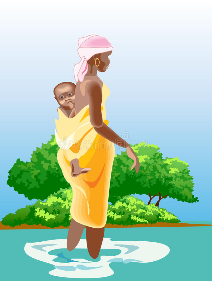 African woman and child stock illustration