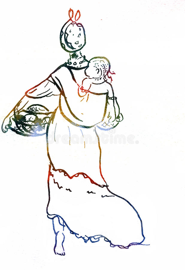 African woman with a child bright illustration stock illustration