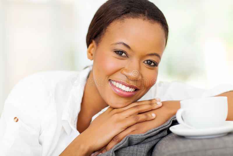African woman coffee stock image