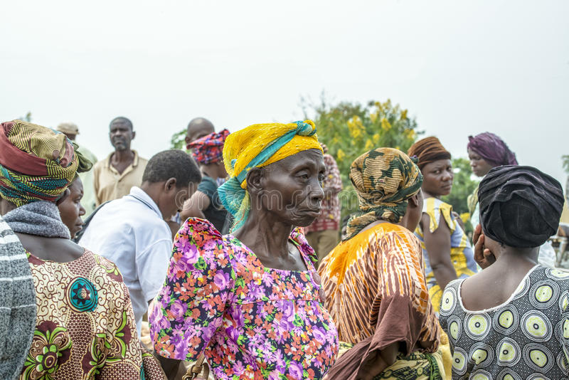 African woman on crowded market, Uganda royalty free stock images