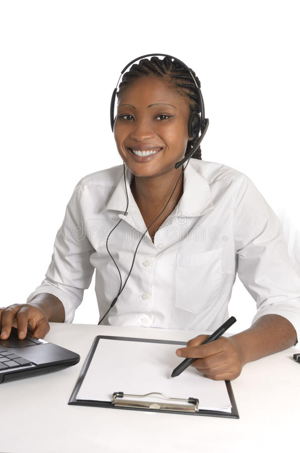 Download African Woman With Head Set Stock Photo - Image: 36409550