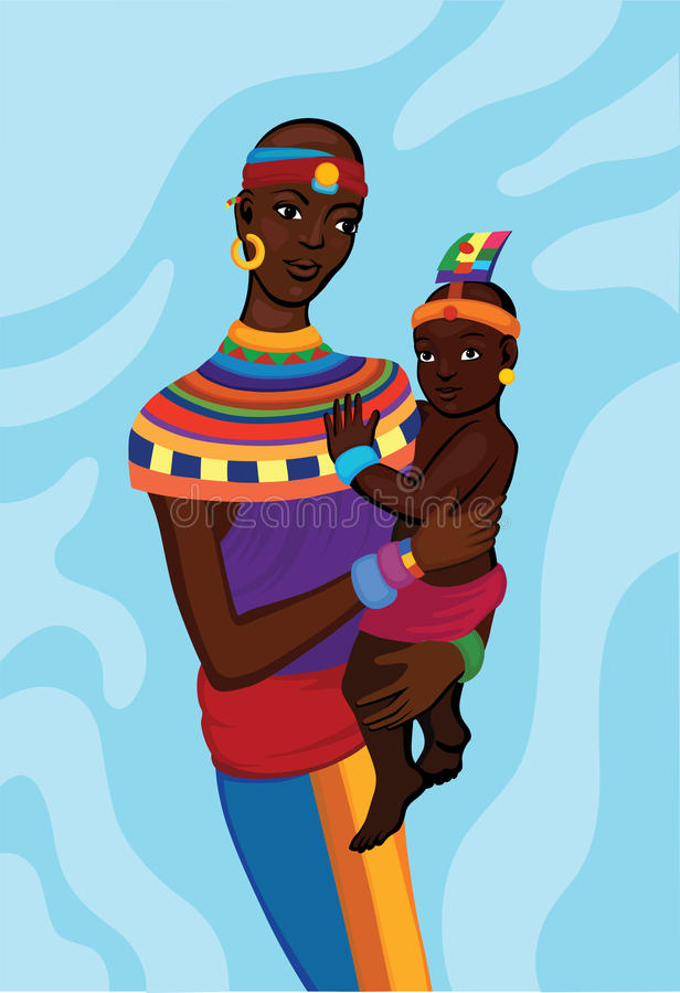 African woman with her small child vector illustration