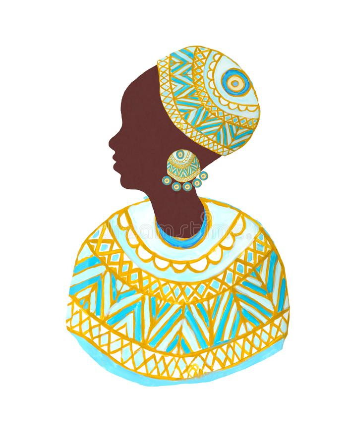 African woman icon in cloth with tribal ornament royalty free stock image