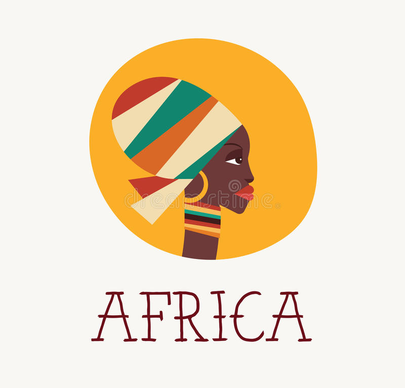 African woman icon stock illustration