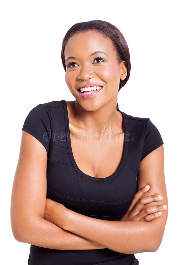 African woman looking up stock photo