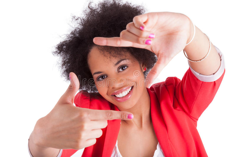 African woman making frame with her hands royalty free stock image