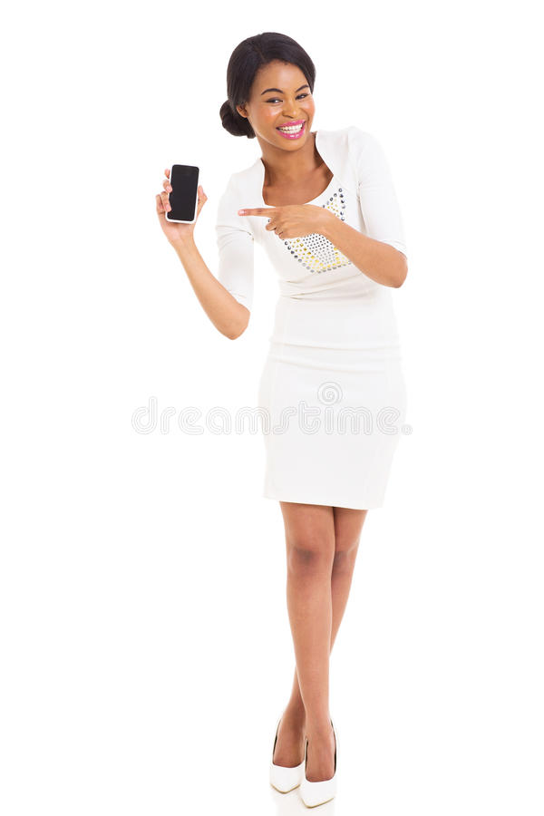 African woman pointing mobile phone stock image
