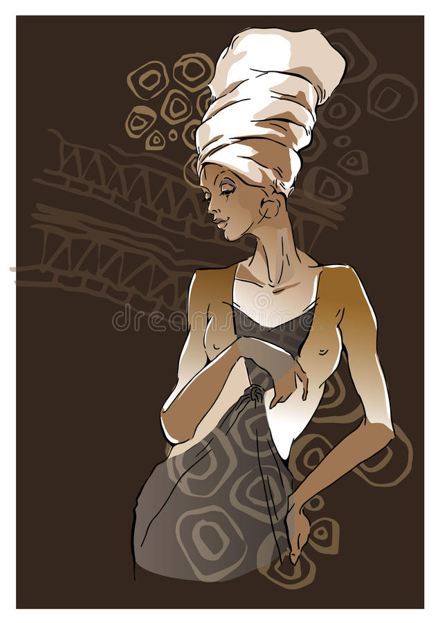 African woman portraits stock illustration