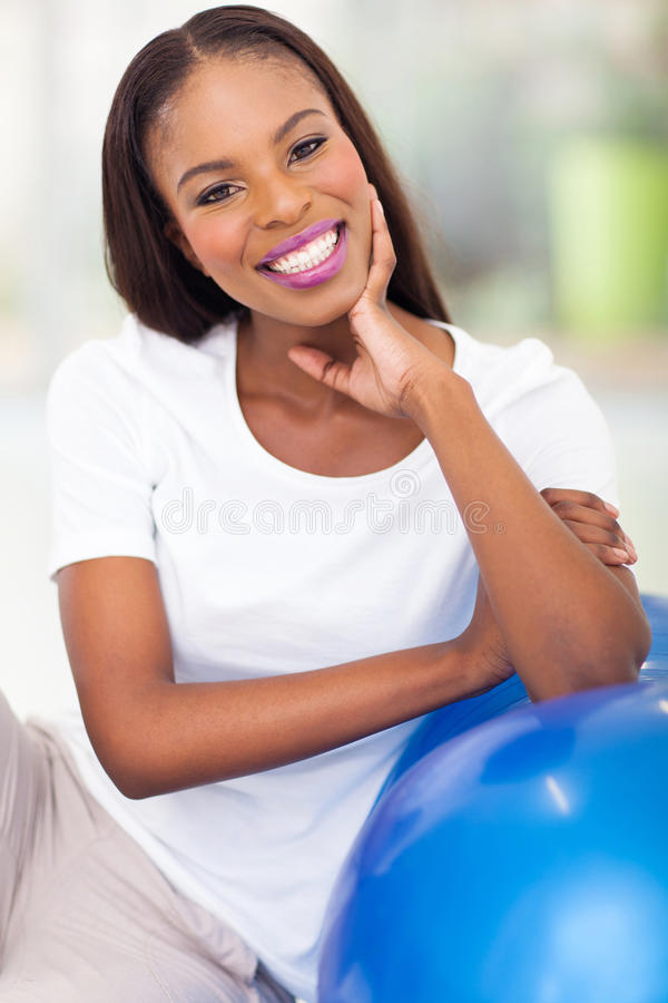 African woman resting fitness royalty free stock photography