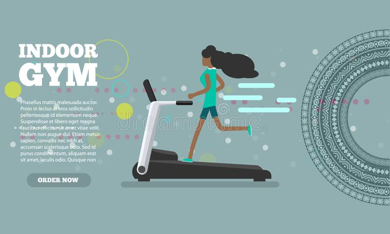 African woman running on treadmill trendy color flat style banner. Vector illustration. African woman running on treadmill trendy color flat style banner royalty free illustration