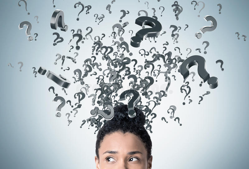 Download African Woman`s Head And Floating Question Marks Stock Photo - Image: 83722846
