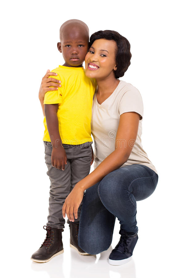 African woman and son. Young african women and son isolated on white background stock photo