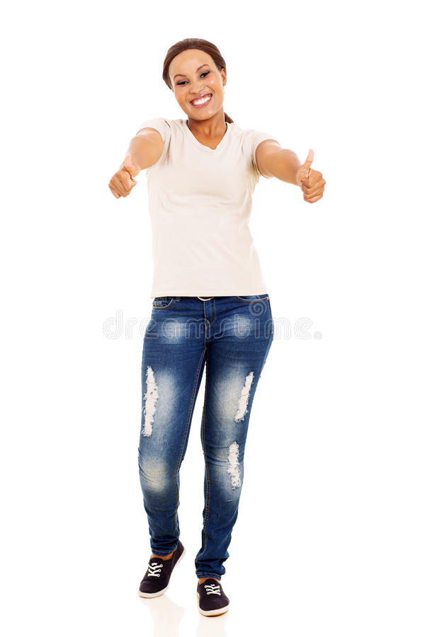 African woman thumbs up stock images