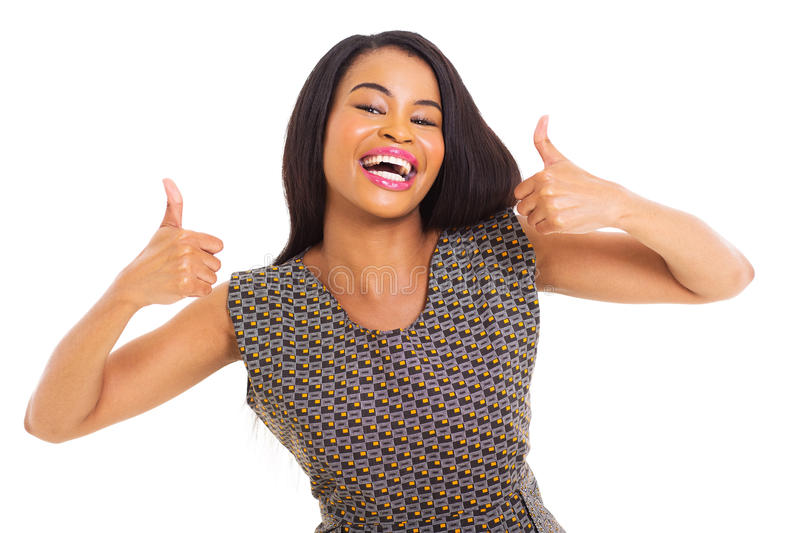 African woman thumbs up stock image