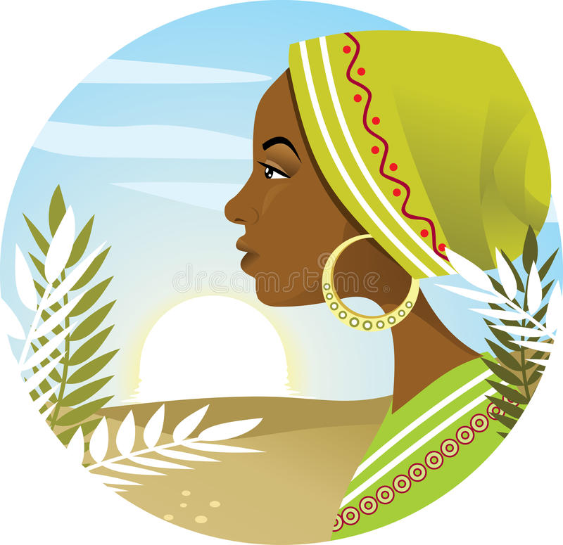 African Woman. Vector illustration portraying a young african womans profile, with a sunrise background. AI8 vector file included stock illustration