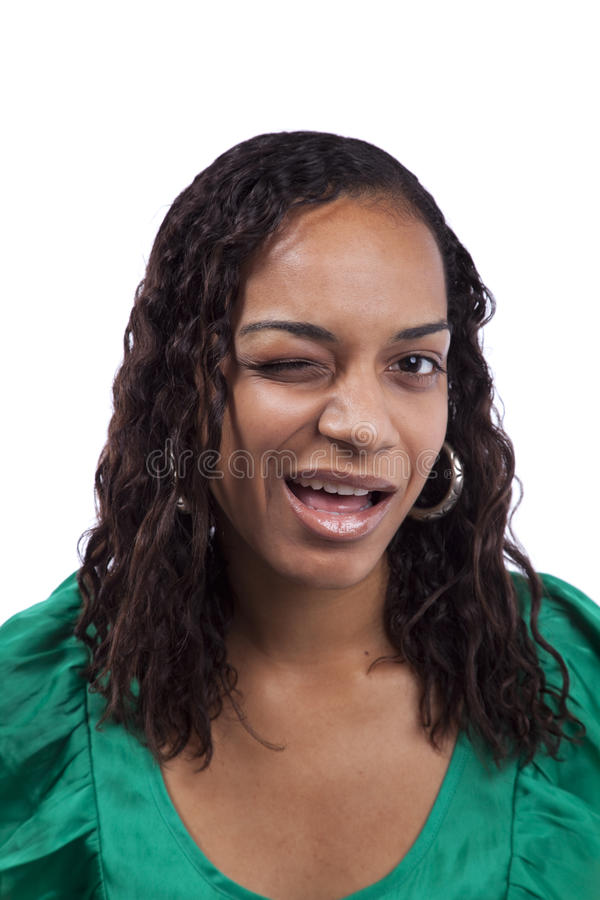 African woman winking her eye stock images