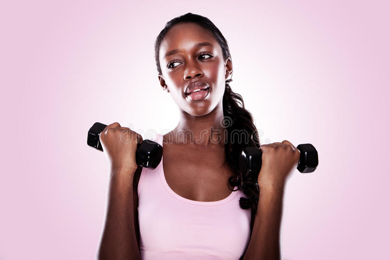 African Woman Working Out Royalty Free Stock Photo