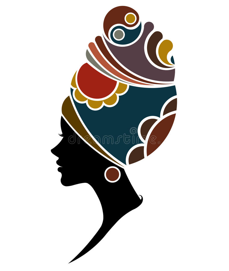 African women silhouette fashion models on white background stock illustration