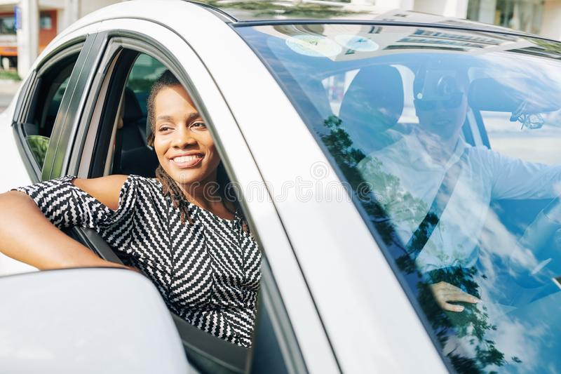 African woman travelling by car stock images