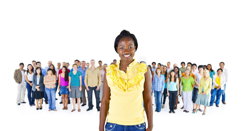 African Women Standing infront of Diversity Crowd Concept stock image