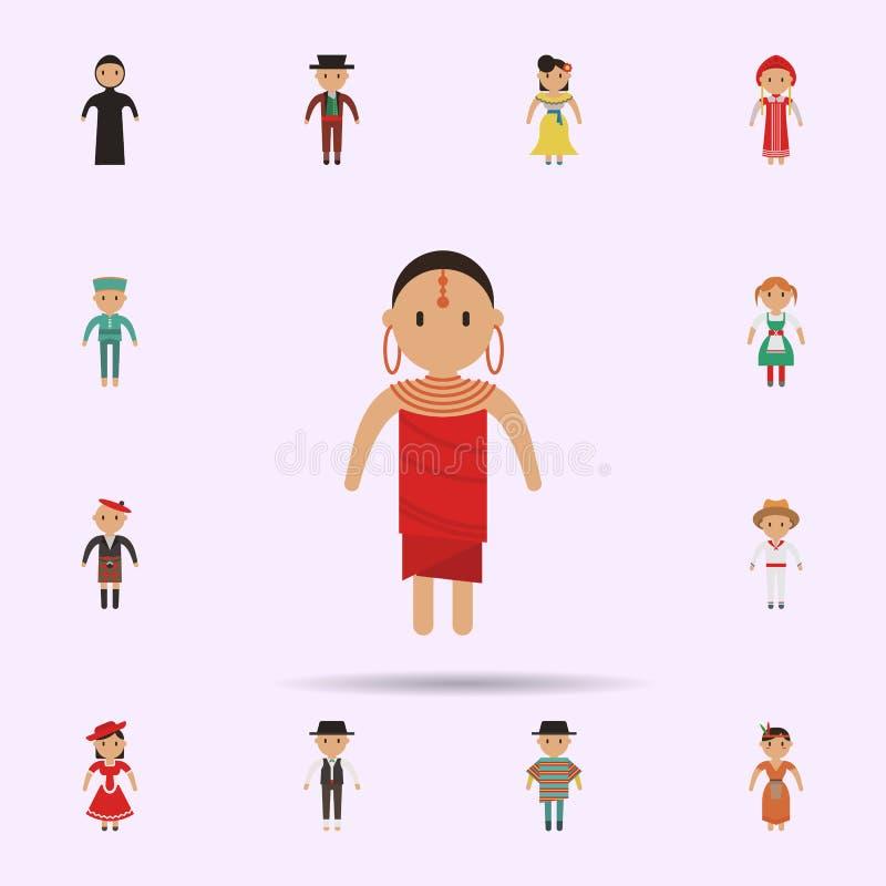 Africano, ?cone dos desenhos animados da mulher Grupo universal de pessoas em todo o mundo para o projeto do Web site e o desenvo ilustração stock