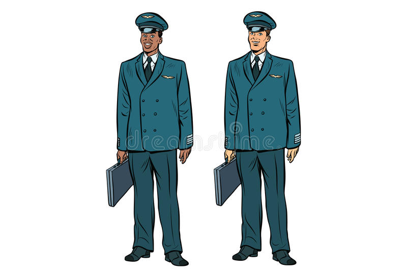 Africano e caucasiano os pilotos da aviação civil ilustração stock