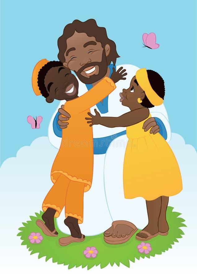 Africano Jesus com crianças ilustração royalty free