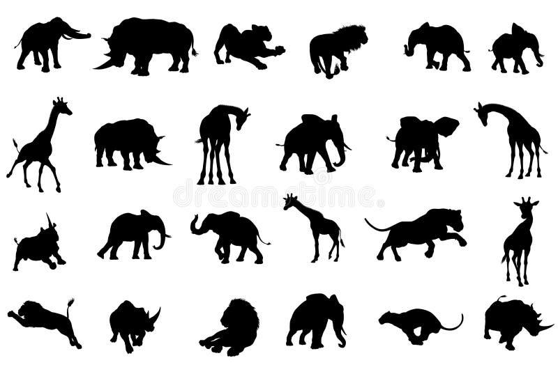 Africano Safari Animals Silhouettes illustrazione vettoriale