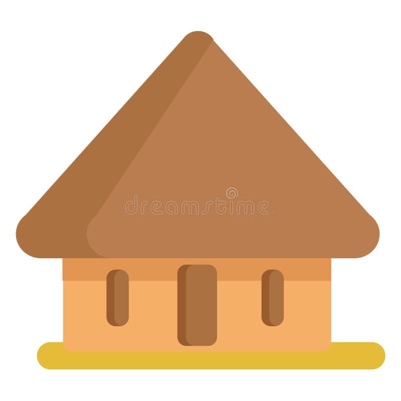 Africano Straw Hut na cor de Brown isolado no branco ilustração stock