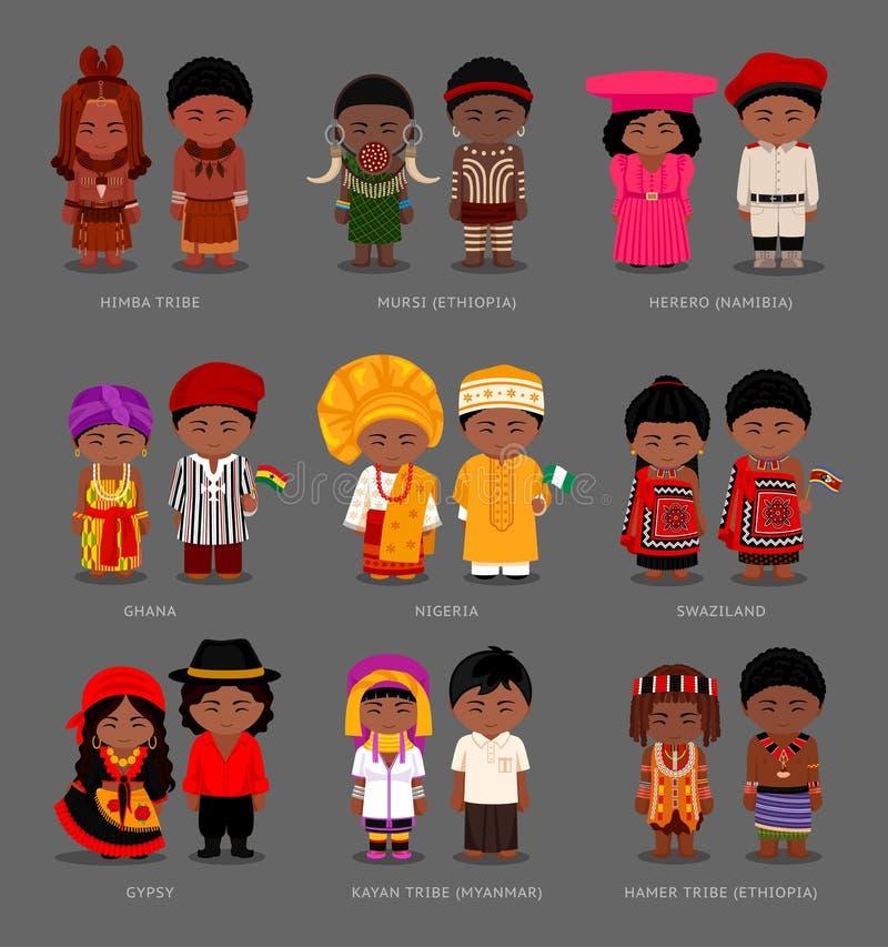 Africanos e asiáticos no vestido nacional ilustração stock