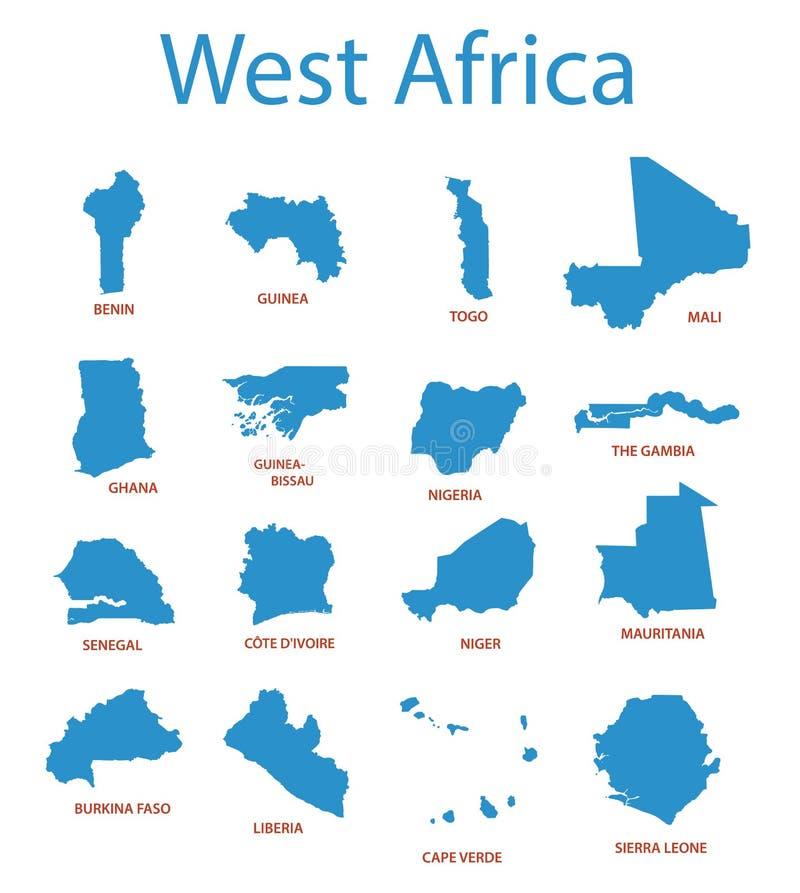 Afriche occidentali - mappe dei territori illustrazione di stock